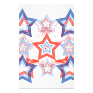 Classy Patriotic Stars Red White & Blue Pattern Personalized Stationery