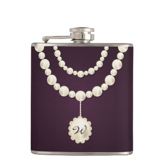 Classy Pearl Necklace Monogram Hip Flask