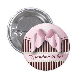 Classy Pink and Brown Stripes 3 Cm Round Badge