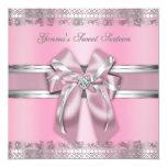 Classy Pink and Silver Invite 13 Cm X 13 Cm Square Invitation Card