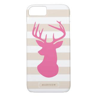 Classy Pink Deer Head Linen Stripes Personalised iPhone 8/7 Case
