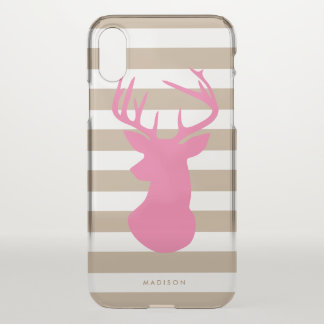 Classy Pink Deer Head Linen Stripes Personalised iPhone X Case