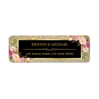 Classy Pink Floral Gold Glitter Sparkles Wedding Return Address Label