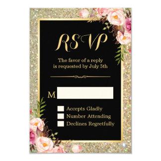 Classy Pink Floral Gold Glitter Sparkling RSVP Card