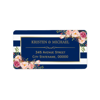 Classy Pink Floral Gold Navy Blue Stripes Address Label