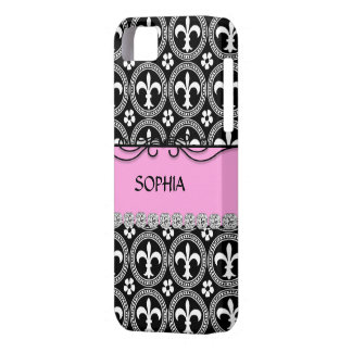 CLASSY PINK French Fleur de Lis IPHONE 5 COVER