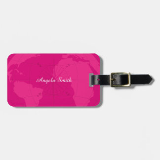 Classy Pink World Map with Compass Rose Monogram Luggage Tag