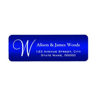 Classy Plain Blue Gradient Monogrammed Wedding Return Address Label