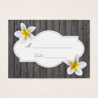 Classy Plumeria Flowers Beach Wedding Place Card