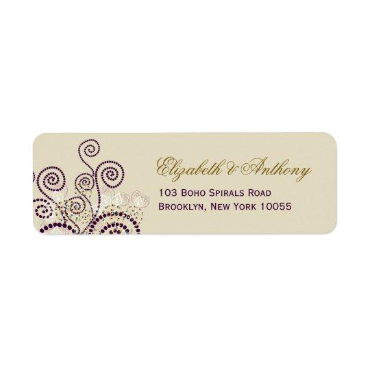 Classy Purple Boho Spirals Wedding Address Label