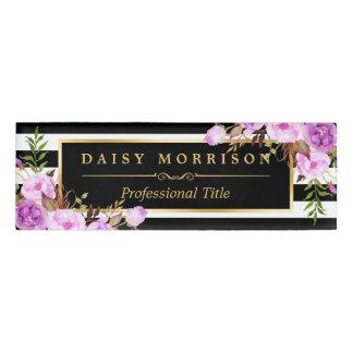 Classy Purple Floral Gold Black White Stripes Name Tag