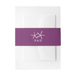 Classy Purple Starfish Beach Wedding Invitation Belly Band