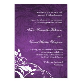 "Classy Purple Wedding Invitation 5"" X 7"" Invitation Card"