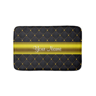 Classy Quilted Black and Gold Personalized Bath Mat