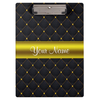 Classy Quilted Black and Gold Personalized Clipboard