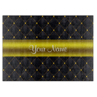Classy Quilted Black and Gold Personalized Cutting Board