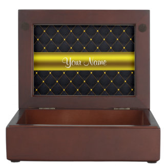 Classy Quilted Black and Gold Personalized Keepsake Box