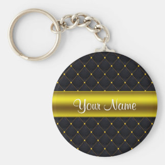 Classy Quilted Black and Gold Personalized Key Ring