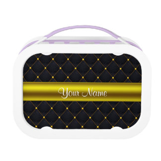 Classy Quilted Black and Gold Personalized Lunch Box