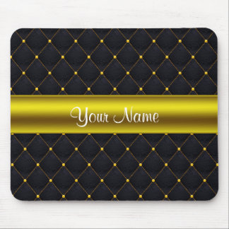 Classy Quilted Black and Gold Personalized Mouse Pad