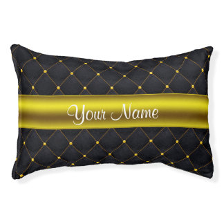 Classy Quilted Black and Gold Personalized Pet Bed