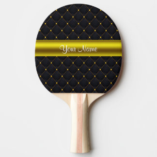 Classy Quilted Black and Gold Personalized Ping Pong Paddle