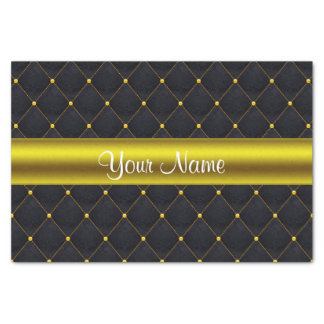 Classy Quilted Black and Gold Personalized Tissue Paper