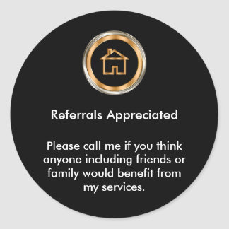Classy Real Estate Agent Referral Appreciation Classic Round Sticker