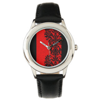 classy red and black baroque wrist watch