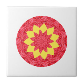 Classy Red and Yellow Geometric Flower Pattern Tiles