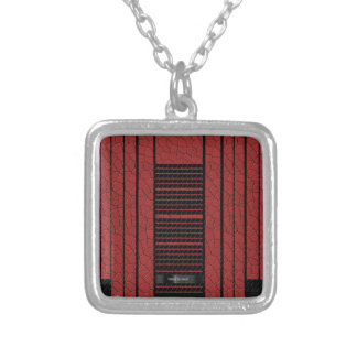 Classy Red Black Flowing Banner Silver Plated Necklace