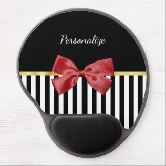 Classy Red Bow Black and White Stripes With Name Gel Mouse Pad