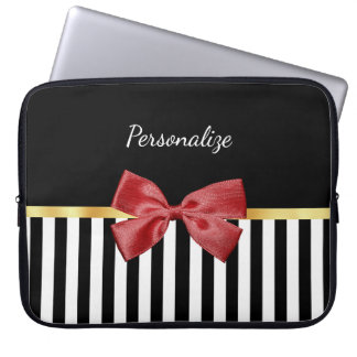 Classy Red Bow Black and White Stripes With Name Laptop Sleeve