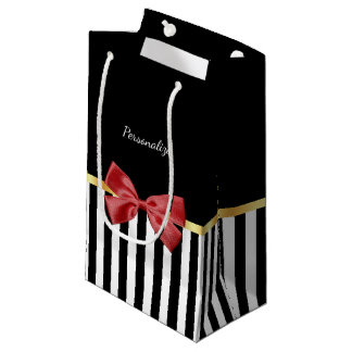 Classy Red Bow Black and White Stripes With Name Small Gift Bag