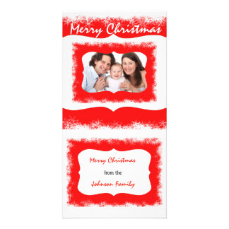 Classy Red Family Greetings photocard Your Photo Custom Photo Card
