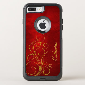 Classy Red Gold Swirl OtterBox Commuter iPhone 7 Plus Case