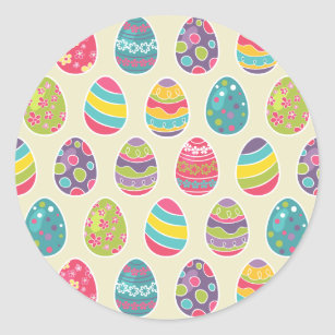 Classy Retro Easter Eggs Happy Day Classic Round Sticker