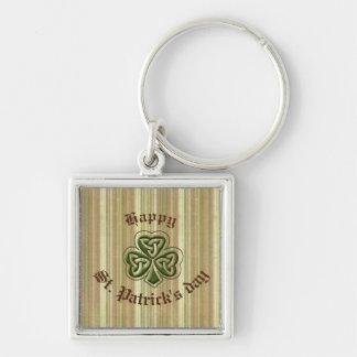 Classy retro Irish lucky shamrock Silver-Colored Square Keychain