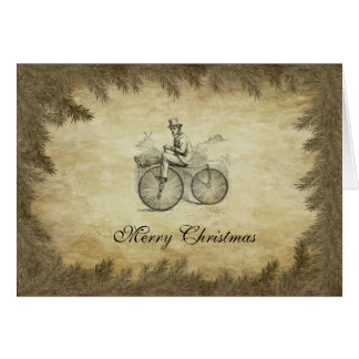 Classy retro old bike Christmas calendar Card