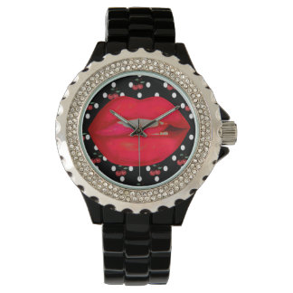 classy rhinestone cherry lips rockabilly  watch