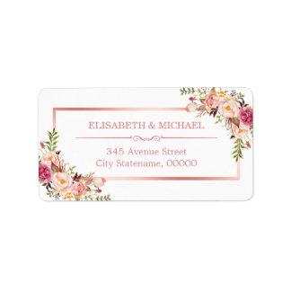 Classy Rose Gold Frame Elegant Floral Decor Label