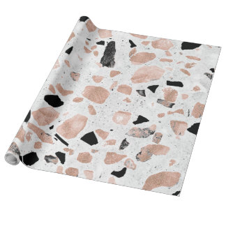 Classy rose gold vintage marble abstract terrazzo wrapping paper