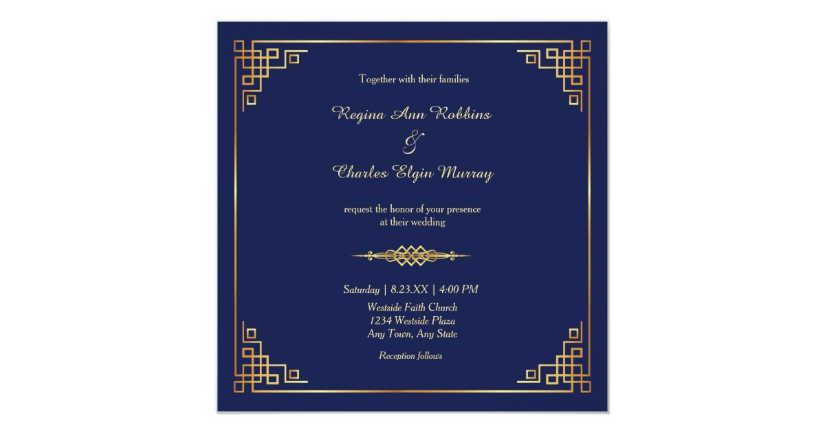 Royal Blue And Gold Wedding Invitations: Classy Royal Blue Gold Frame Wedding Invitation