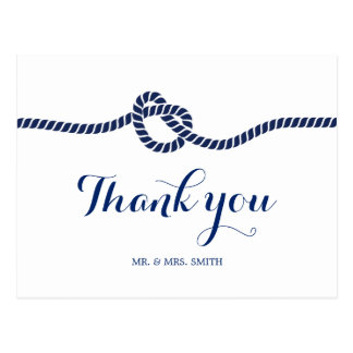 Classy Royal Blue Tying the Knot Thank You Postcard