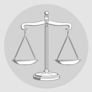 Classy Scales of Justice | Law Round Sticker