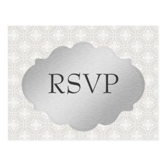 Classy Silver and White RSVP Postcard