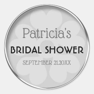 Classy Silver Bridal Shower Favor Classic Round Sticker