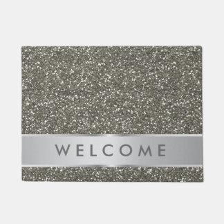 Classy Silver Glitter Look Welcome Doormat