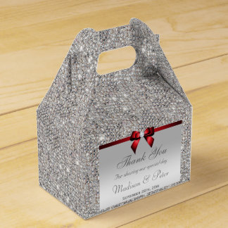 Classy Silver Sequins Red Diamond Bow Favour Box