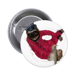 classy sloth 6 cm round badge